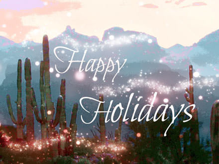 Silhouetted Catalina Mountains and hightlighted saguaro cactus bathed in white sparkles and text, Happy Holidays